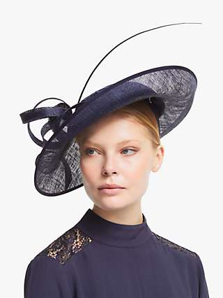 John Lewis & Partners Arabella Floral Lace Wide Disc Occasion Hat, Navy