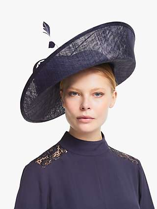 John Lewis & Partners Ophelia Upturn Brim Flower Disc Occasion Hat, Navy