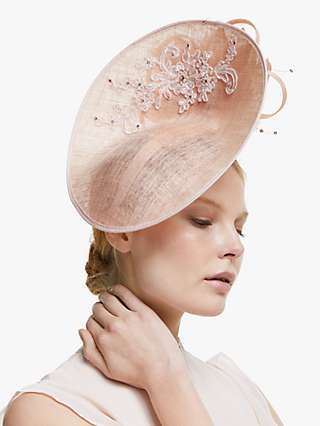 John Lewis & Partners Iris Flower Disc Occasion Hat, Blush