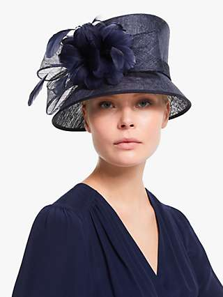 John Lewis & Partners Irene Floral Feather Occasion Hat, Navy