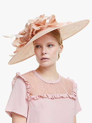 John Lewis & Partners Fiona Flower and Loop Disc Occasion Hat, Light Pink