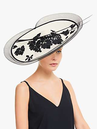 John Lewis & Partners Anna Floral Lace Wide Disc Occasion Hat, Ivory/Black