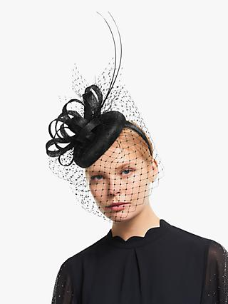 John Lewis & Partner Charlotte Pillbox Mesh Veil Fascinator, Black
