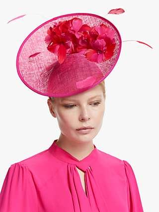 John Lewis & Partners Hannah Flower Disc Occasion Hat, Fuchsia