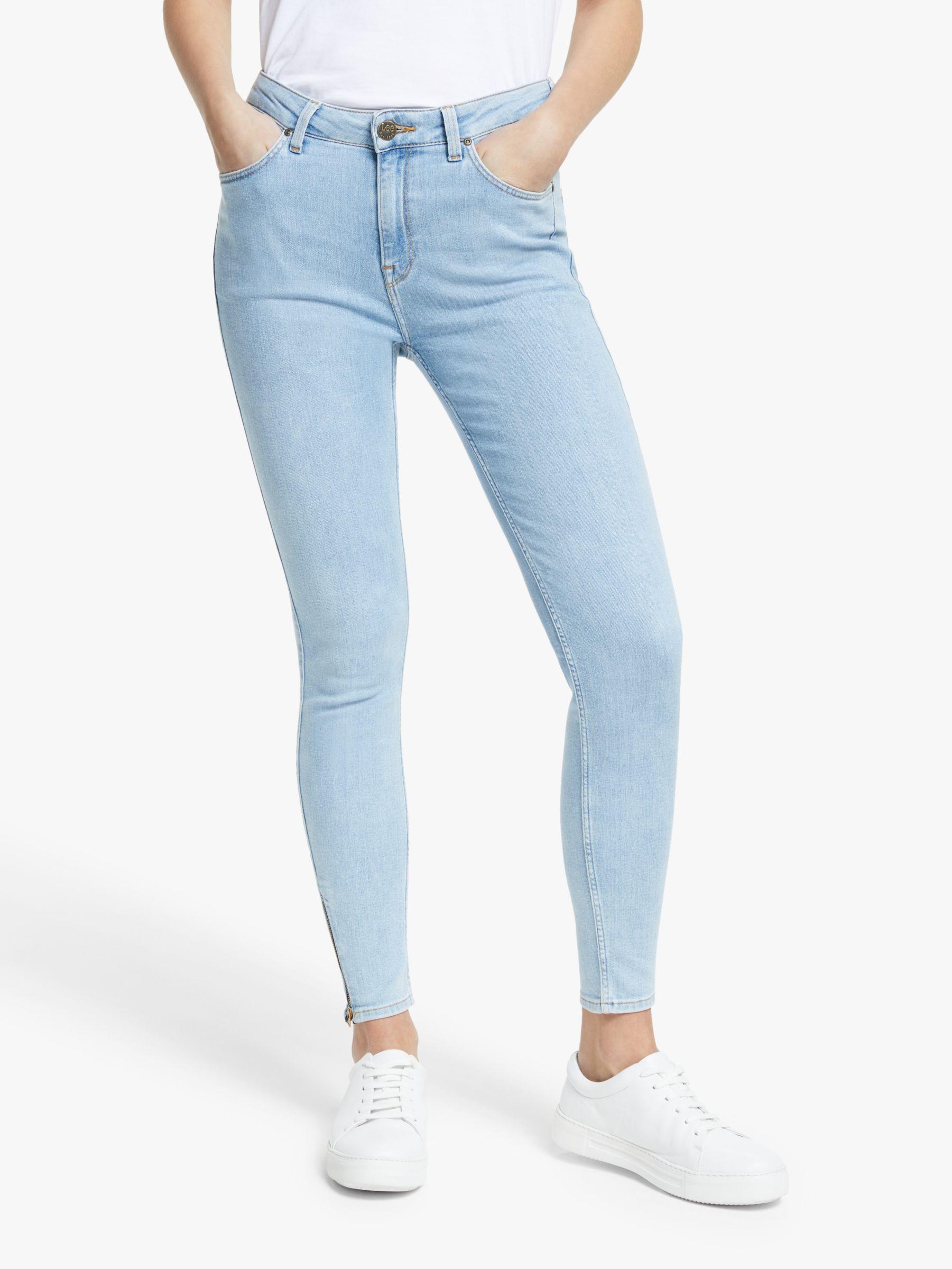 Lee Lee Scarlett High Waist Skinny Cropped Zip Jeans, Light Coroval