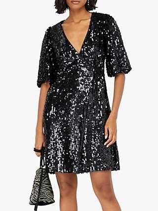 Monsoon Serena Sequin Wrap Dress, Black