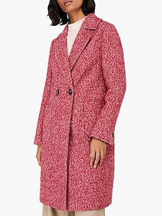 Monsoon Esme Herringbone Coat, Red