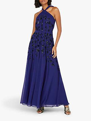 Monsoon Annabel Embellished Floral Halter Neck Maxi Dress, Cobalt