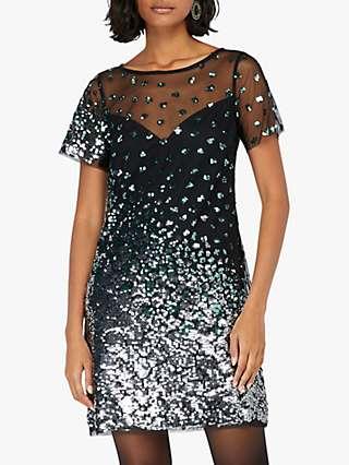 Monsoon Sasha Animal Sequin Mini Dress, Black