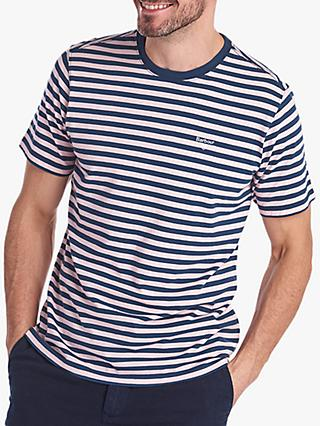 Barbour Delamere Short Sleeve Striped T-Shirt, Chalk Pink