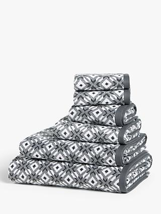 John Lewis & Partners Geo Diamond Towels