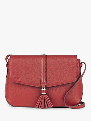 Hobbs Bexley Leather Cross Body Bag, Red