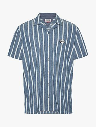 Tommy Jeans Tommy Badge Stripe Cotton Shirt, Indigo