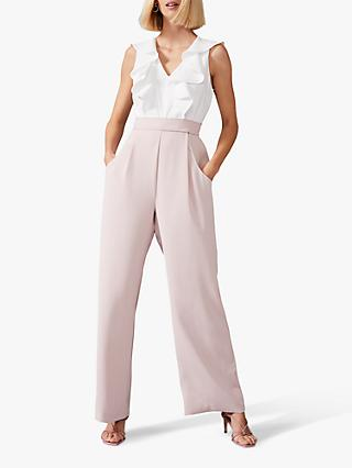 Phase Eight Linda Frill Jumpsuit, Ivory/Pink