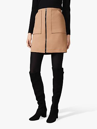 Phase Eight Drue Zip Front Mini Skirt, Camel