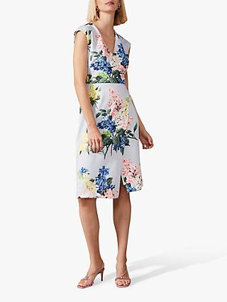 Phase Eight Frannie Floral Scuba Dress, Mineral