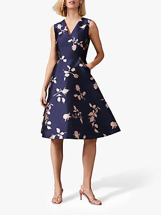 Phase Eight Jordyn Jacquard Dress, Navy/Ballet Pink