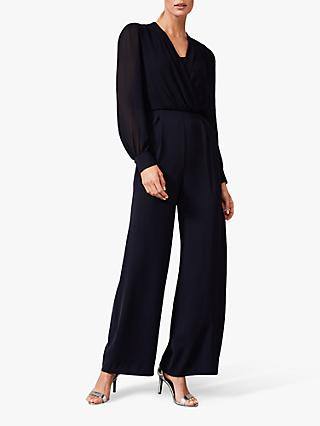 Phase Eight Jass Chiffon Bodice Jumpsuit, Navy