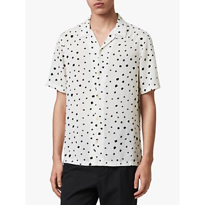 Image of AllSaints Albedo Short Sleeve Hawaiian Shirt, Ecru/Jet Black