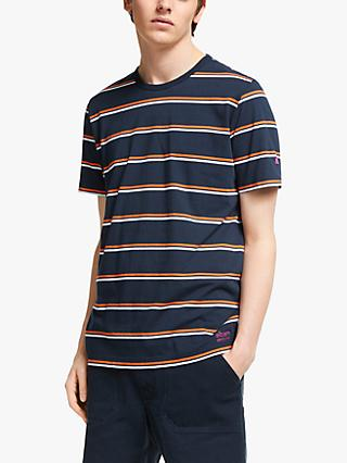 Albam Utility Wide Stripe T-Shirt, Navy/Orange/White