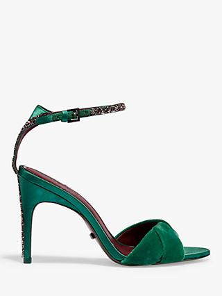 Reiss Hayden Velvet Cross Front Sandals