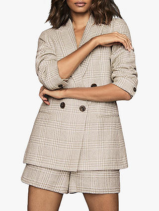 Buy Reiss Lula Linen Blend Check Blazer, White/Grey, 6 Online at johnlewis.com