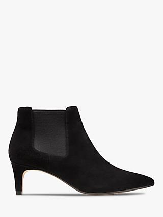Clarks Laina 55 Kitten Heel Suede Ankle Boots, Black