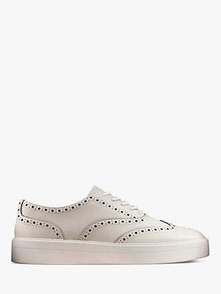 Clarks Hero Flatform Leather Brogues, White
