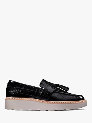 Clarks Trace Tassel Leather Loafers, Black Croc