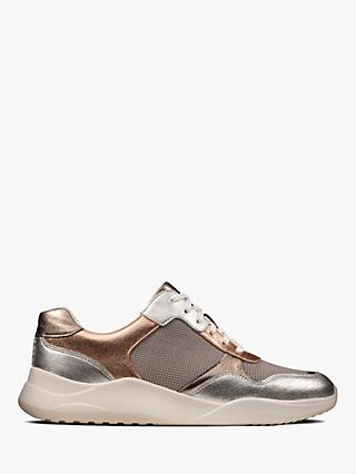 Clarks Sift Lace Up Leather Trainers, Rose Gold