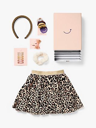 Stych Girls' Party Animal Skirt And Accessories Gift Box Set, Leopard