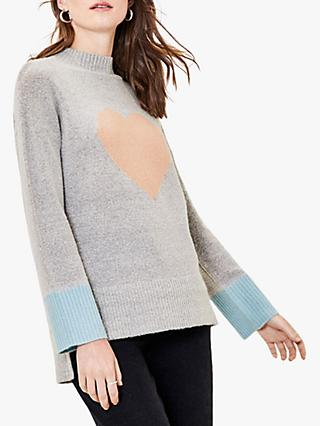 Oasis Hope Heart Colour Block Jumper, Grey/Multi