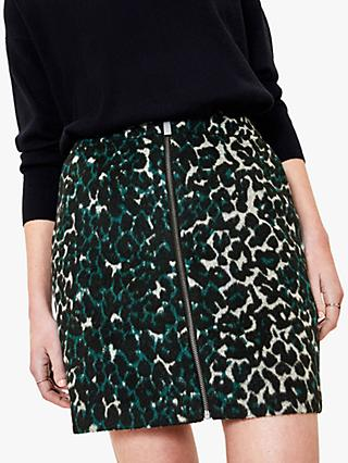 Oasis Leopard Print Zip Mini Skirt, Green