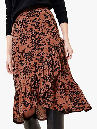 Oasis Aeryn Rose Midi Skirt, Multi/Natural