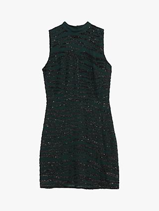 Oasis Sequin Tiger Print Shift Dress, Green/Multi