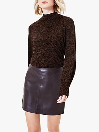 Oasis Tara Textured Animal Print Mock Neck Jumper, Brown Multi