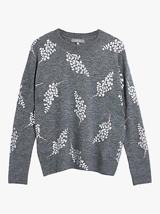 Oasis Foil Leaf Print Jumper, Dark Grey