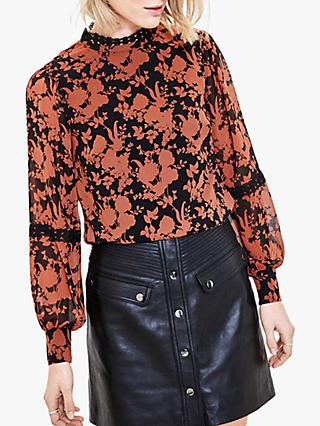 Oasis Floral Silhouette Blouse, Black/Ginger