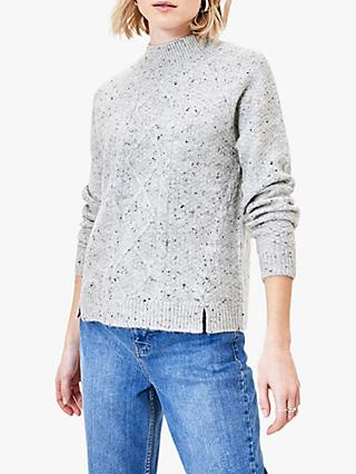 Oasis Nora Nep Cable Jumper, Mid Grey