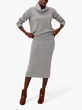 Oasis Tula Co-Ord Midi Skirt, Dark Grey
