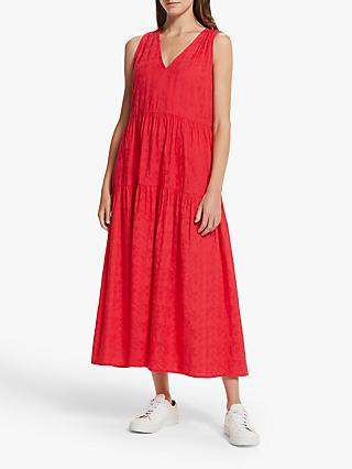 AND/OR Pippa Tiered Textured Dress, Coral