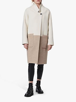AllSaints Rylee Oversized Colour Block Wool Coat, Ecru/Beige