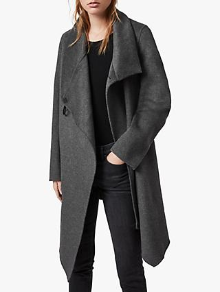 AllSaints Wool Blend Monument Eve Coat, Charcoal Grey
