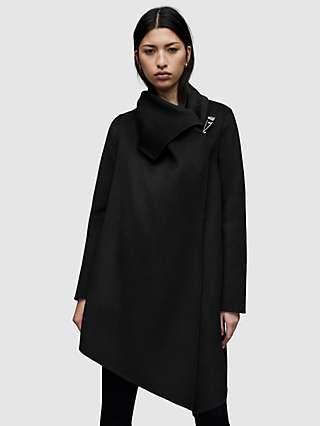 AllSaints Wool Blend Monument Eve Coat, Black