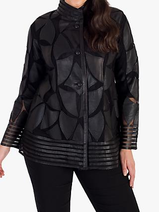 chesca Applique Patch Leather Jacket, Black
