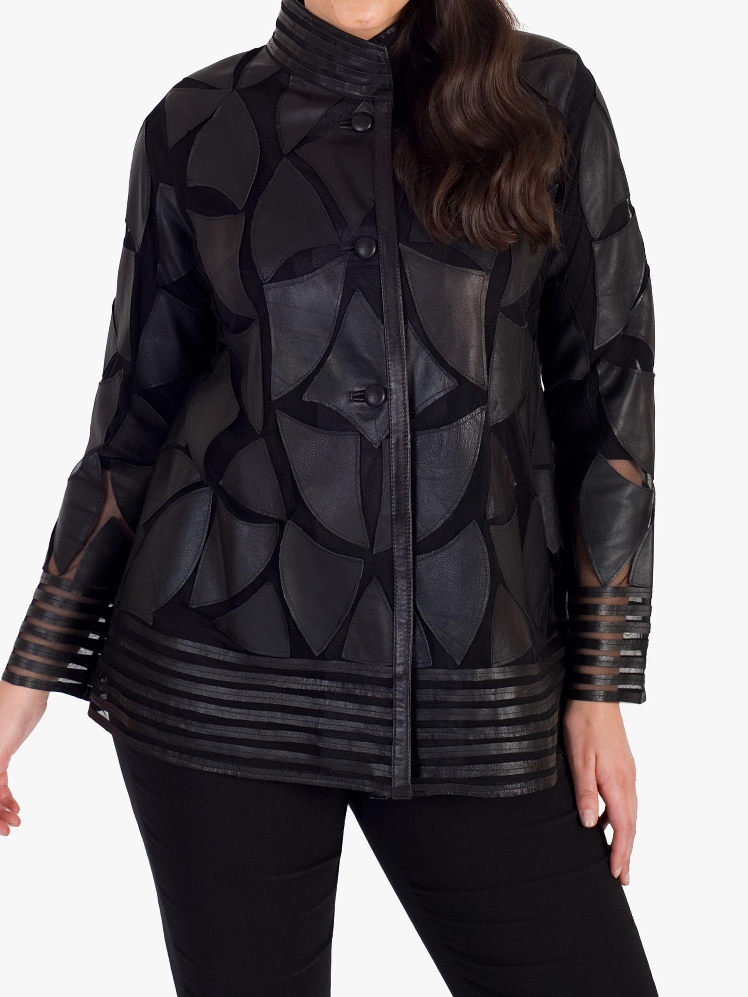 Chesca chesca Applique Patch Leather Jacket, Black