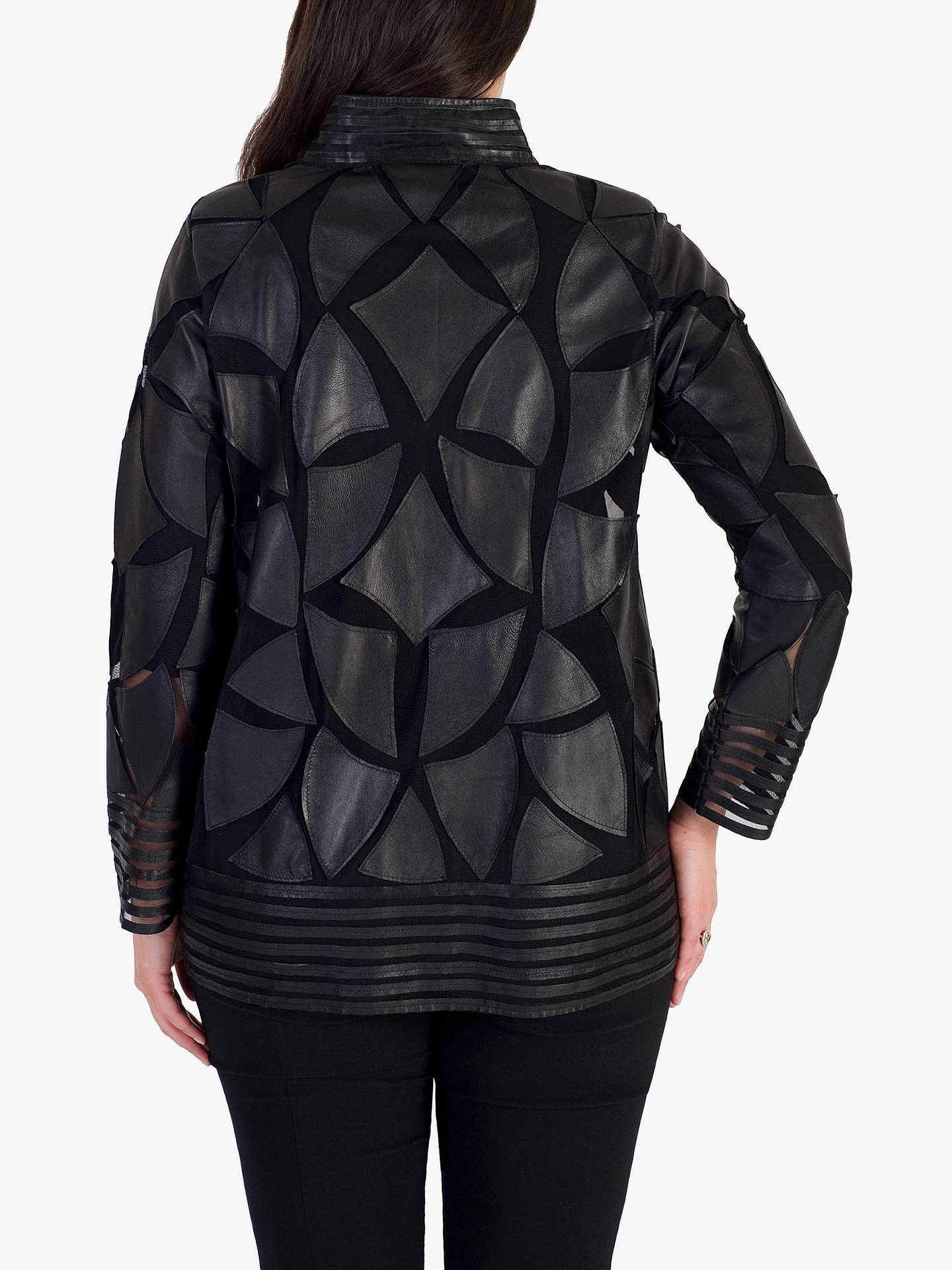 Buy chesca Applique Patch Leather Jacket, Black, 12-14 Online at johnlewis.com
