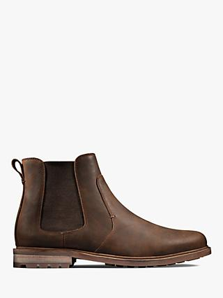 Clarks Foxwell Beeswax Leather Chelsea Boots, Brown