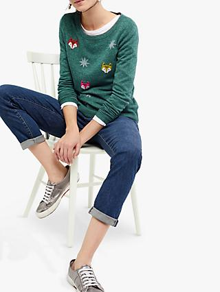 White Stuff Starry Fox Jumper, Green