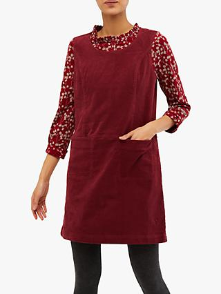 White Stuff Darcy Cord Pinny Dress, Teak Red Plain